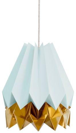 Lampa wisząca Stripe Mint Blue/Warm Gold Orikomi niebiesko-złota oprawa w dekoracyjnym stylu