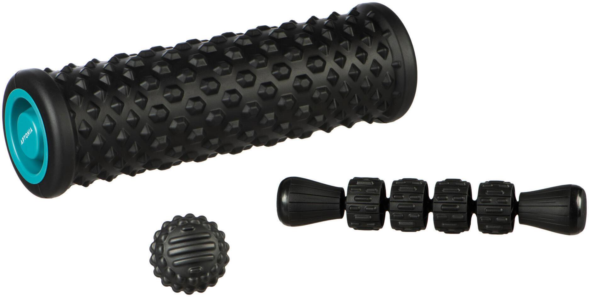 Zestaw do masażu: wałek do masażu/ foam roller, piłka, drążek do masażu
