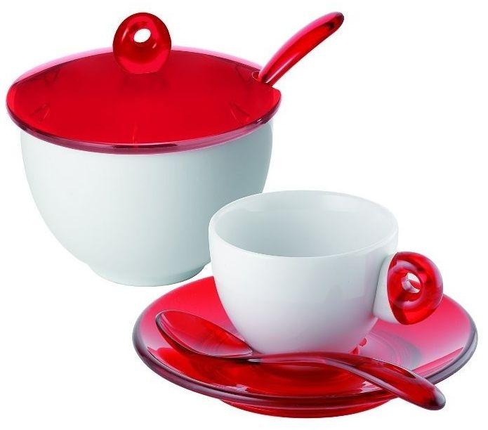 Guzzini - komplet 2 filiżanek do espresso i cukiernica - art & cafe - czerwone - czerwone