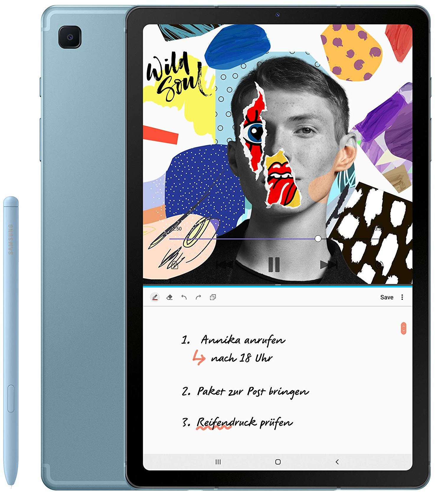 Samsung, Galaxy Tab S6 Lite (LTE) 10.4 Cala, Tablet z Rysikiem, 4 GB, 64 GB, Android 10.0, Niebieski