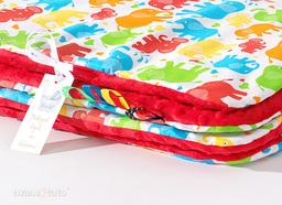 MAMO-TATO Kocyk Minky dla niemowląt i dzieci 75x100 Słonie kolorowe / czerwony