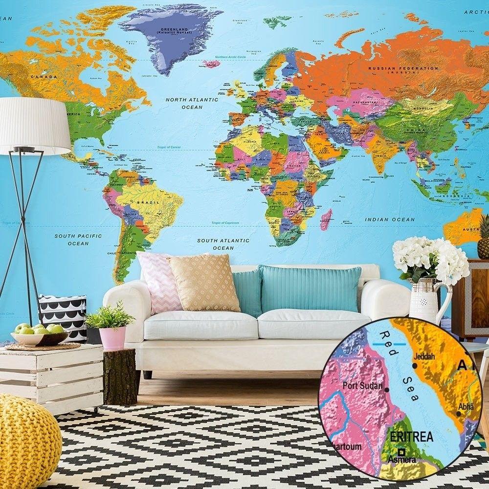 Fototapeta xxl - mapa świata: kolorowa geografia ii