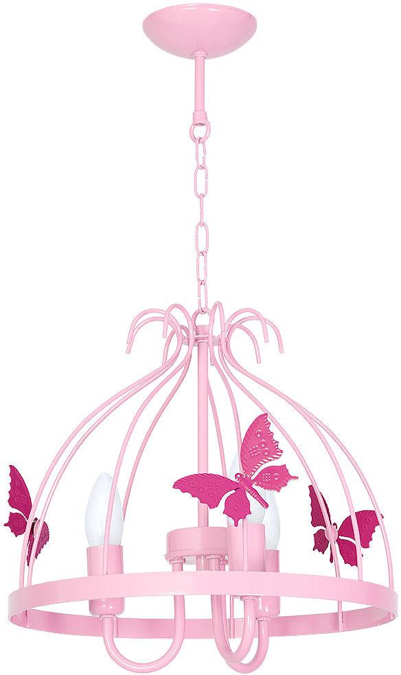 Milagro KAGO MLP1169 żyrandol dziecięcy różowy klosz ze świecznikowymi uchwytami zwisy w formie łańcuchów 3xE14 30cm