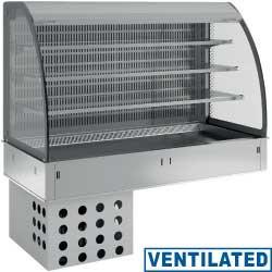 Regał chłodniczy 3-poziomowy wentylowany z zasłoną 4x GN 1/1 do zabudowy 1100W 230V -1 +7  1455x700x(H)1400mm