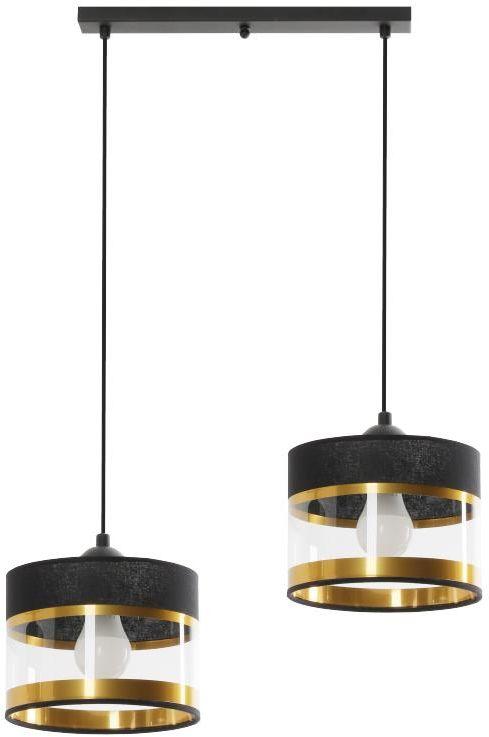 Lampex Elia 2L 855/2L lampa wisząca elegancka połączenie czarnego i złotego przezroczysty pasek na kloszu E27 2x40W 57cm