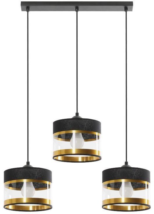 Lampex Elia 3L 855/3L lampa wisząca metalowa PCV czarno złota przeźroczysty pasek na kloszu E27 3x40W 63cm