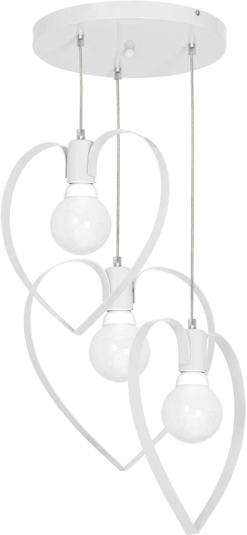 Milagro AMORE WHITE MLP9951 lampa wisząca romantyczny charakter metalowa biała serca 3xE27 40cm