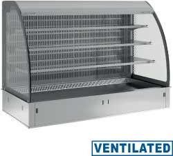 Regał chłodniczy 3-poziomowy wentylowany z zasłoną 4x GN 1/1 do zabudowy (bez jednostki hermetycznej) 230V -1  +7  1455x700x(H)1235mm