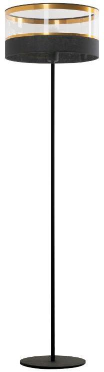 Lampex Elia 855/ST lampa podłogowa metalowa czarno złota przeźroczysty pasek na kloszu E27 1x40W 151cm