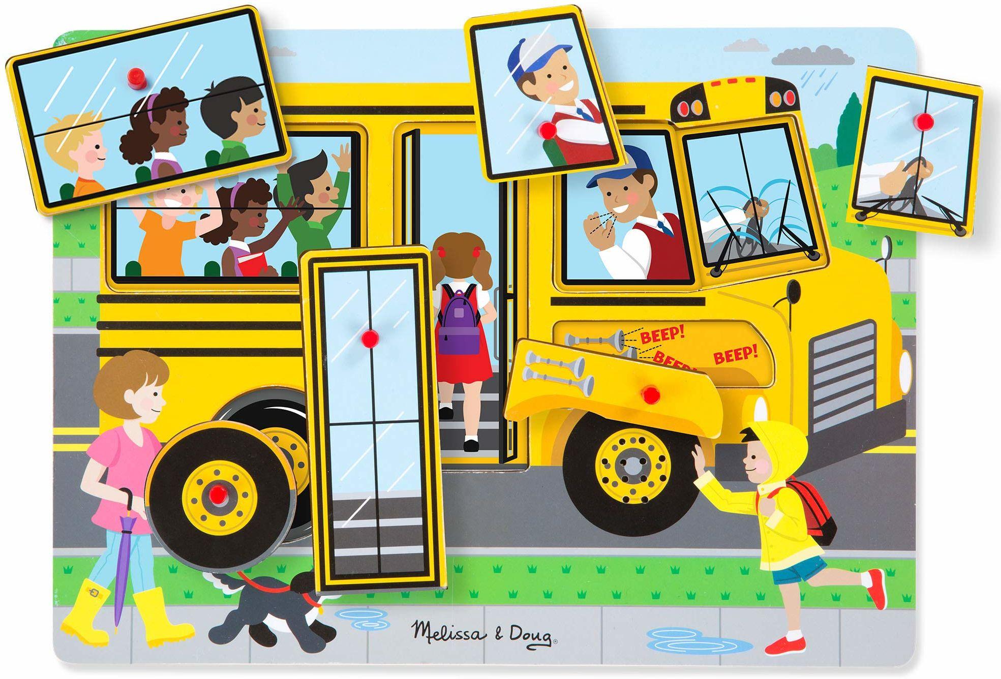 Melissa & Doug Koła w autobusie puzzle dźwiękowe łamigłówki drewno 2+ prezent dla chłopca lub dziewczynki