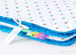 MAMO-TATO Kocyk Minky dla niemowląt i dzieci 75x100 Gwiazdki szare i niebieskie / niebieski
