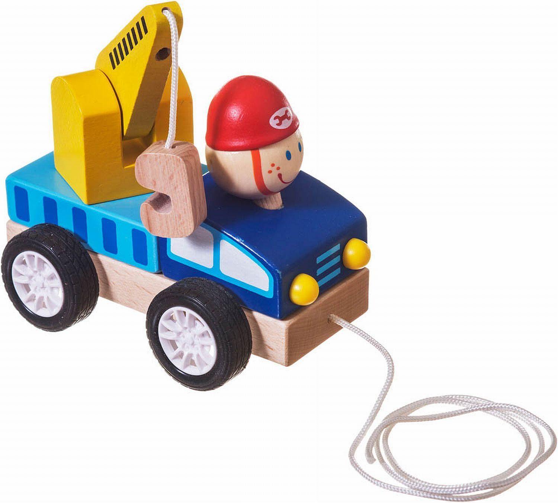 Bieco 23022588 - Drewniany wózek holowniczy Nachziehfahrzeug, około 13 x 8,5 x 10 cm, niebieski