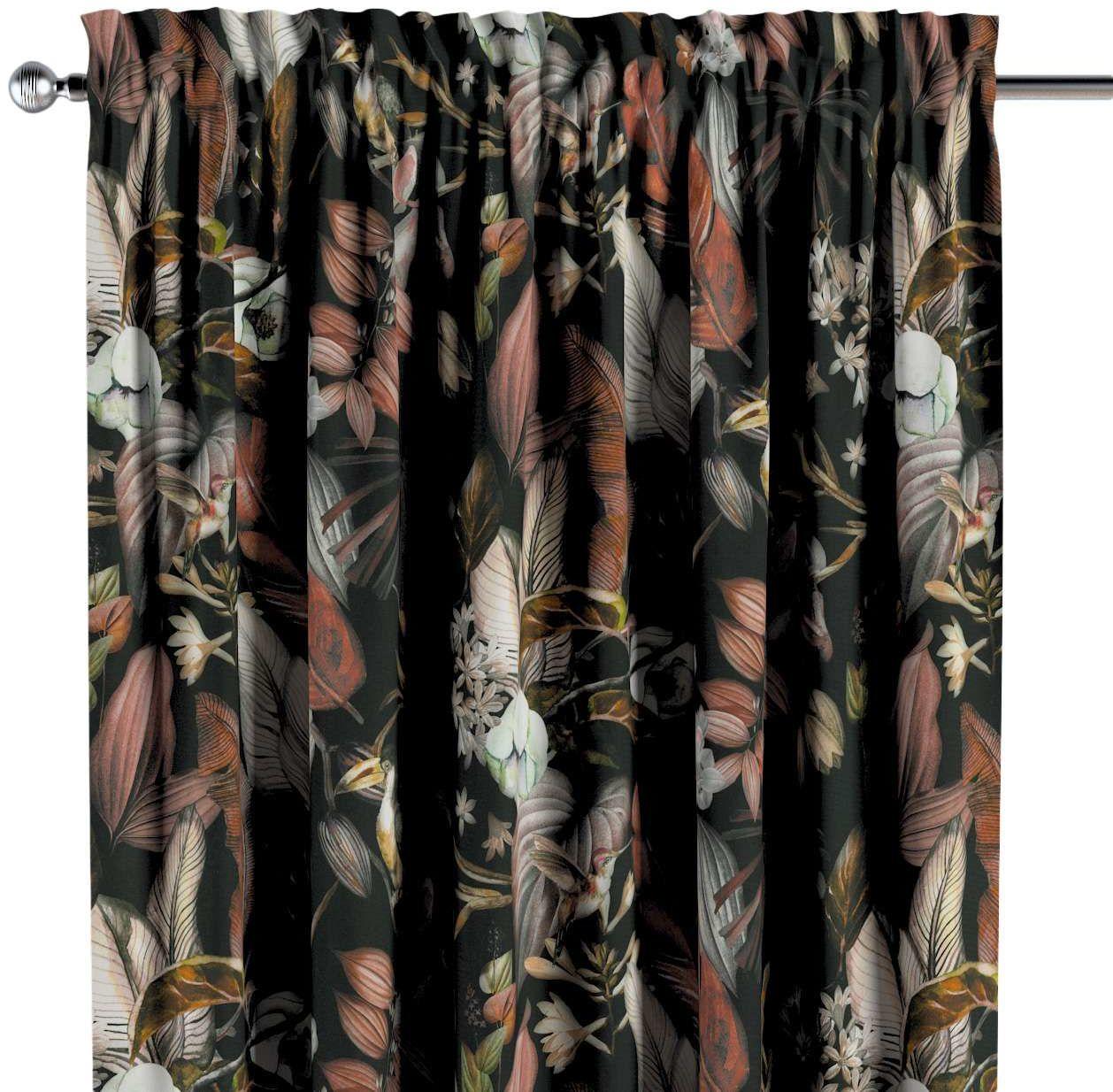 Zasłona na kanale z grzywką 1 szt., kolorowe kwiaty na czarnym tle, 1szt 130  260 cm, Abigail