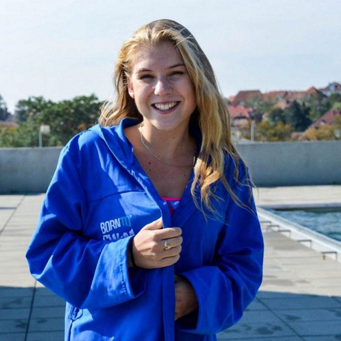 Borntoswim bathrobe kids blue