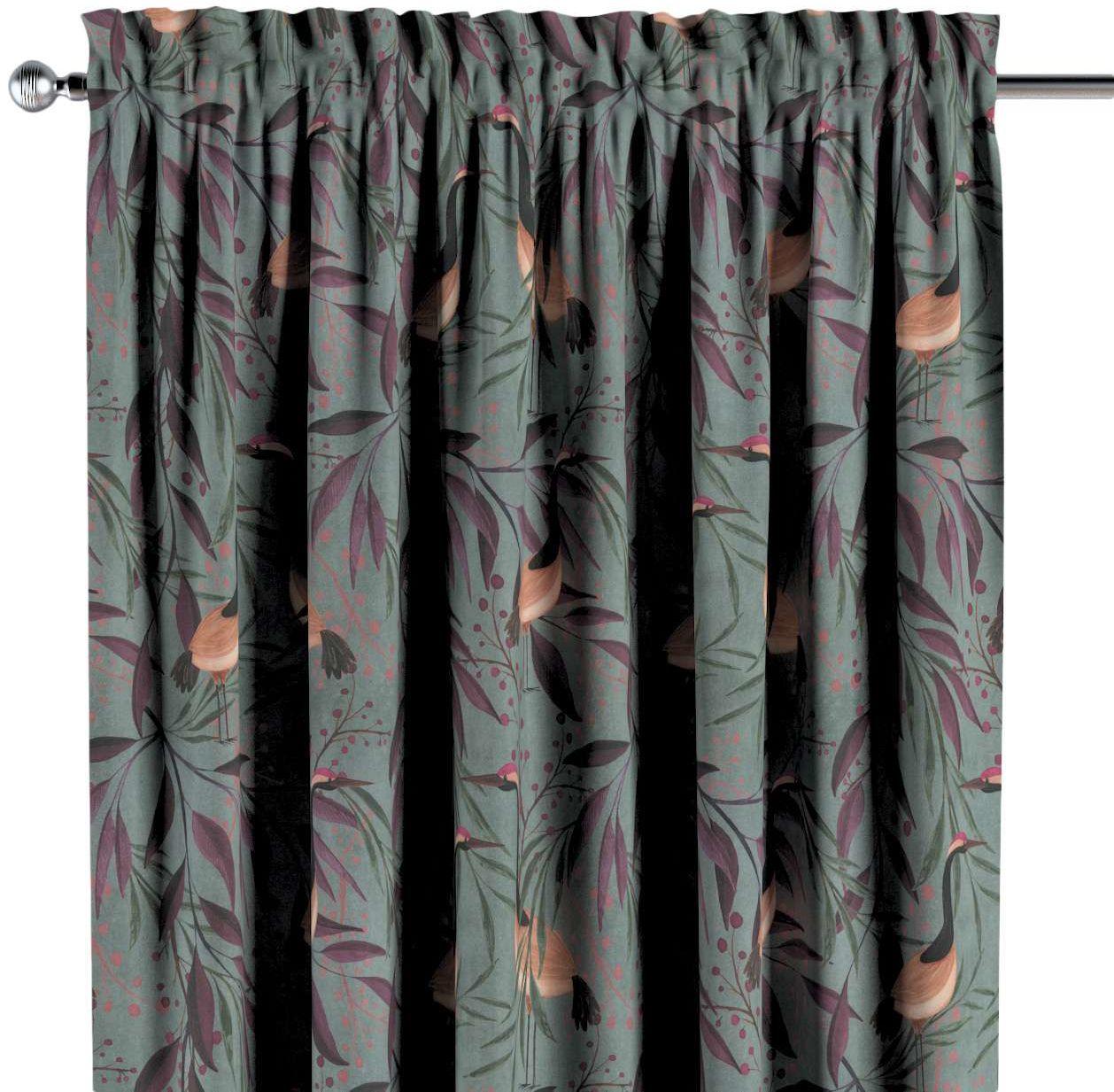 Zasłona na kanale z grzywką 1 szt., kolorowe czaple na szaro-zielonym tle, 1szt 130  260 cm, Abigail