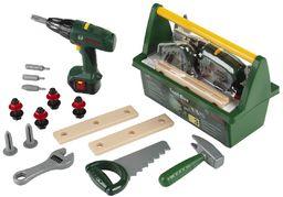 Theo Klein 8429 Bosch skrzynka narzędziowa, z piłą, młotkiem, szczypcami i wieloma innymi, zasilana na baterie, wkrętarka akumulatorowa, wymiary: 31 cm x 16,5 cm x 22,5 cm, zabawka dla dzieci od 3 lat