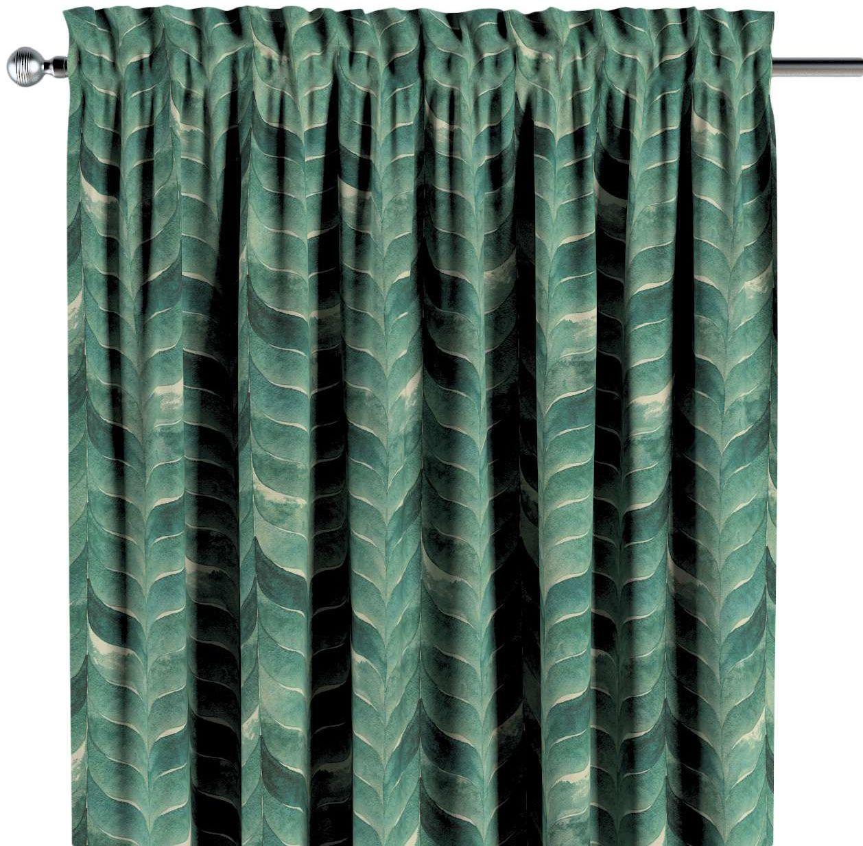 Zasłona na kanale z grzywką 1 szt., szmaragdowo-zielony wzór na lnianym tle, 1szt 130  260 cm, Abigail