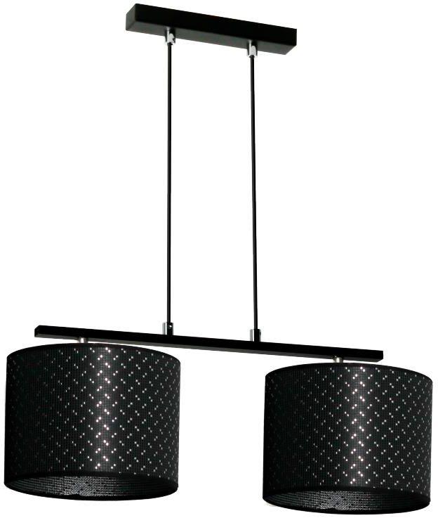 Lampex Prias 2 889/2 lampa wisząca ekskluzywna oprawa oświetleniowa dwa materiałowe abażury czarny ze srebrną nitką na zewnątrz i srebrny wewnątrz E27 2x60W 50cm