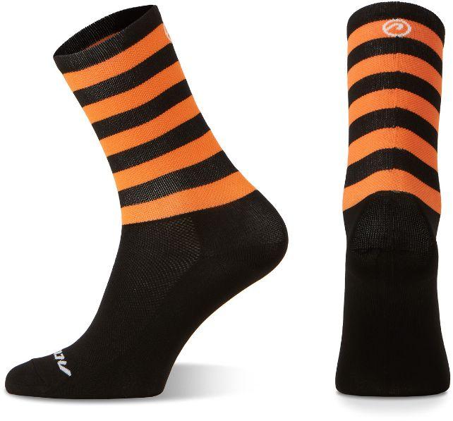 Skarpetki kolarskie Accent Stripe Long, czarno-pomarańczowe, M (39-41)