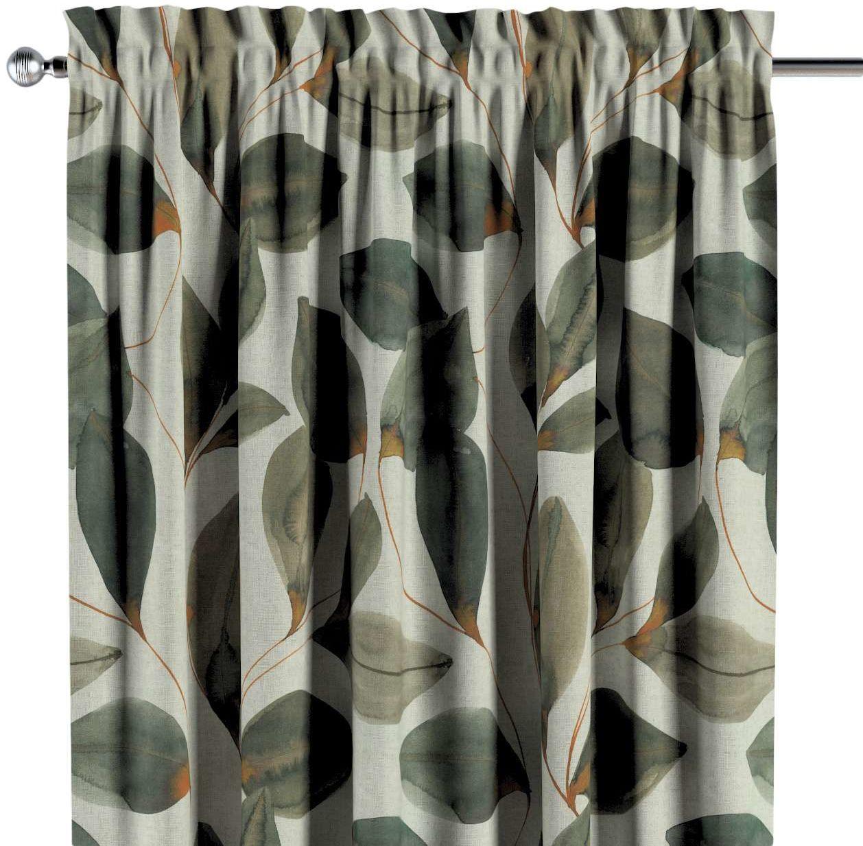 Zasłona na kanale z grzywką 1 szt., brązowo-pomarańczowe liście na szarym lnianym tle, 1szt 130  260 cm, Abigail