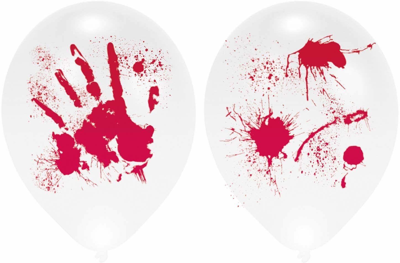 Amscan 9901843 krwawe ręce balony lateksowe LED, białe, 4 szt