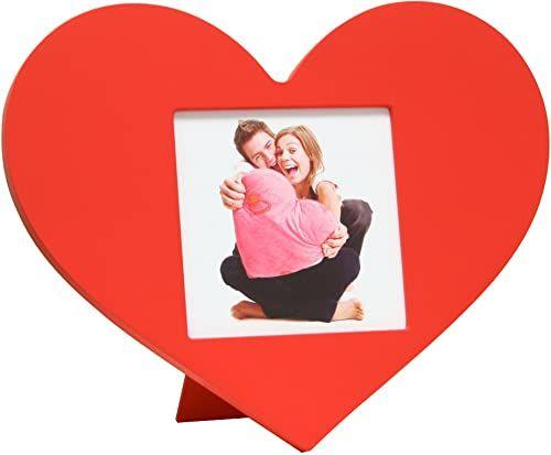 Deknudt Frames S66RC4 ramka na zdjęcia w kształcie serca o wymiarach 10 x 10 cm czerwona