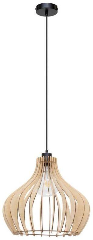 Lampa wisząca Arata czarna z drewnem E27 Spot-Light