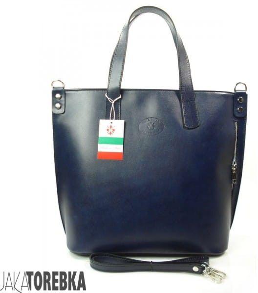 Włoska duża damska torba shopper bag Granatowa