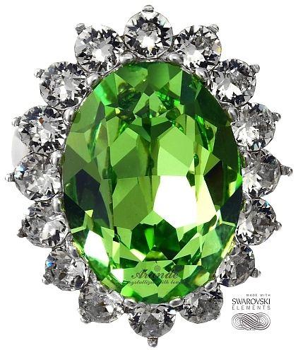 SWAROVSKI piękny pierścionek ROYAL GREEN SREBRO