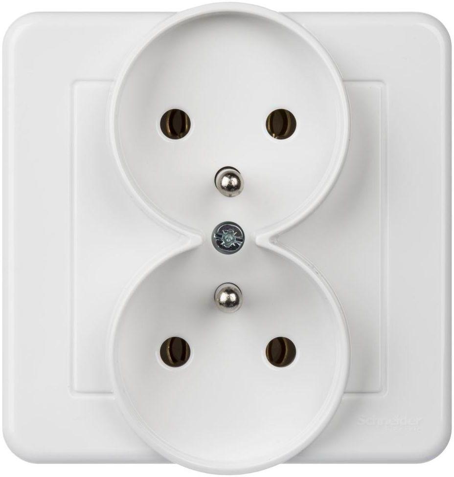 Gniazdo podwójne LEONA Biały SCHNEIDER ELECTRIC