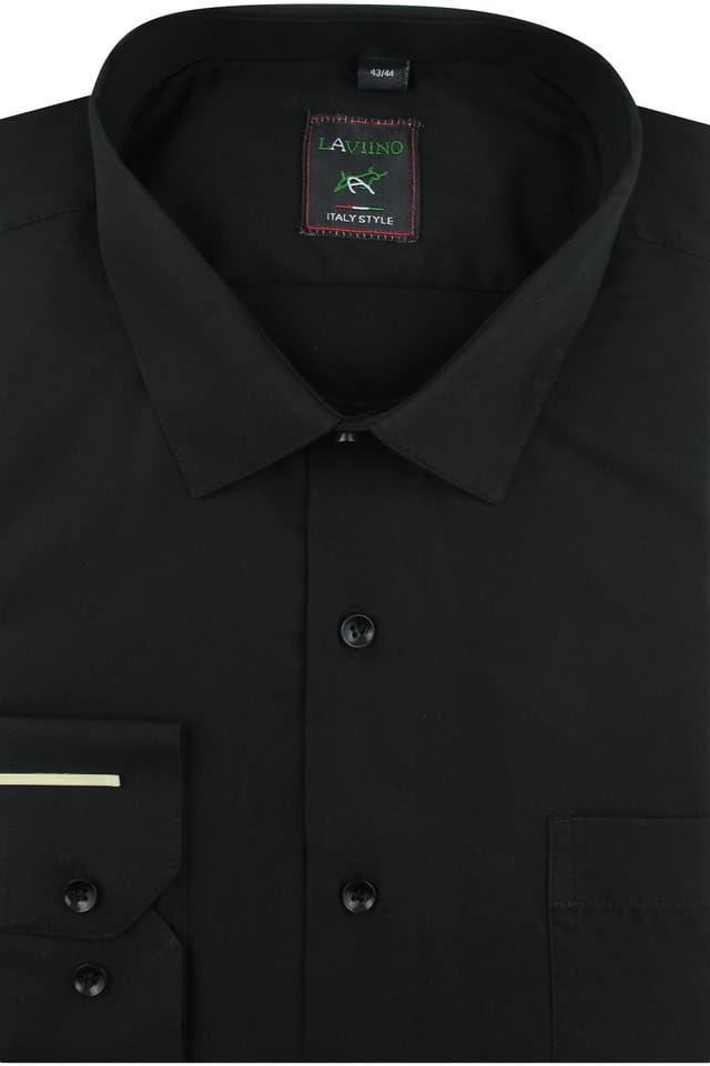 Koszula Męska Elegancka Wizytowa Biznesowa do garnituru Laviino gładka czarna z długim rękawem w kroju REGULAR A172