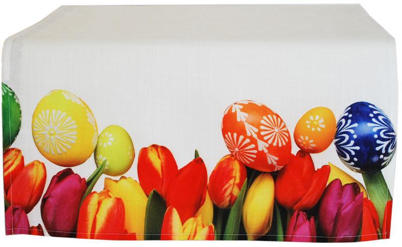 Bieżnik Poliestrowy Wielkanoc Tulipany i Pisanki