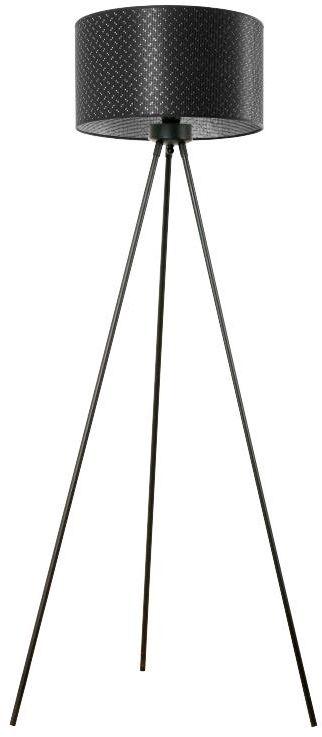 Lampex Prias B 889/ST B lampa podłogowa ekskluzywna oprawa oświetleniowa materiałowy abażur czarny ze srebrną nitką na zewnątrz i srebrny wewnątrz czarna podstawa trójnóg E27 1X60W