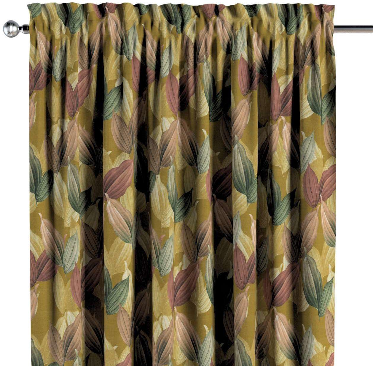 Zasłona na kanale z grzywką 1 szt., kolorowe liście na musztardowym tle, 1szt 130  260 cm, Abigail