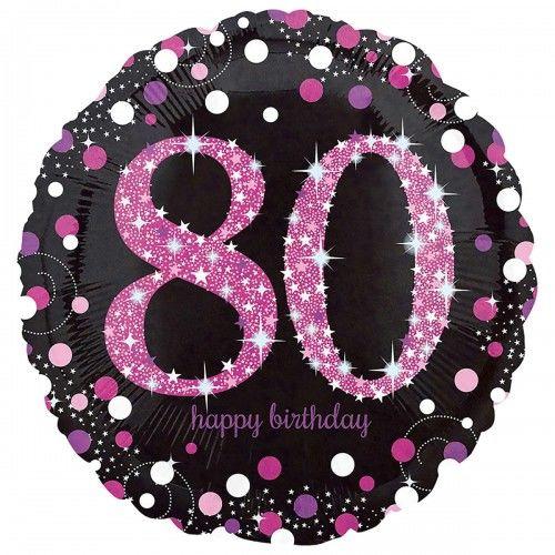 Balon na 80 urodziny różowy Sparkling Celebration