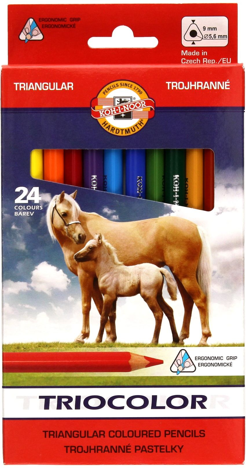 Kredki ołówkowe trójkątne 24kol 9mm Tricolor Koh-I-Noor 3144