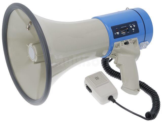 Megafon 25W z mikrofonem na elastycznym przewodzie i odtwarzaczem MP3