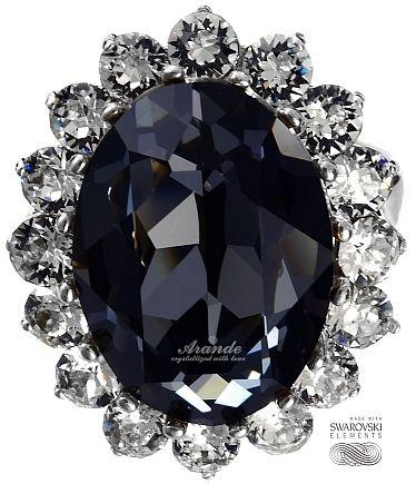 SWAROVSKI piękny pierścionek ROYAL NIGHT SREBRO