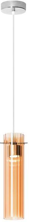 Lampex Tella 1 908/1 lampa wisząca nowoczesna podłużny szklany przydymiony klosz w połączeniu z chromowanym zawiesiem LED 3W 10cm