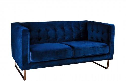 Sofa 2 osobowa aksamitna Meno granatowy, podstawa rose gold