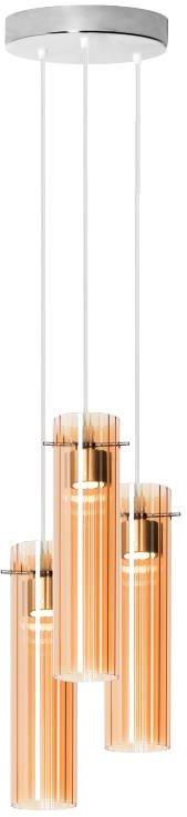 Lampex Tella 3P 908/3P lampa wisząca nowoczesna podłużny kształt trzech szklanych kloszy w połączeniu z chromowanym zawiesiem LED 12W 20cm