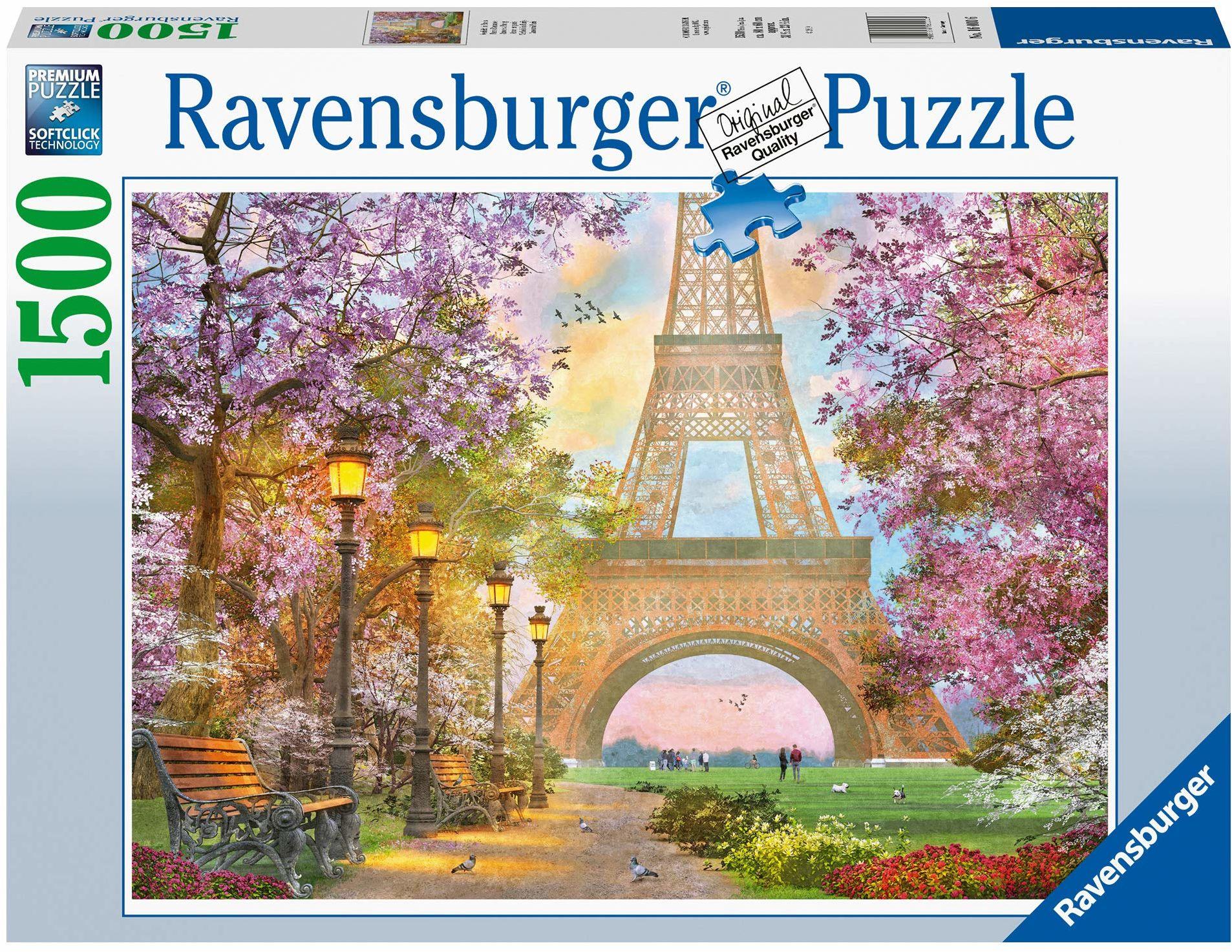 Ravensburger Puzzle 1500 elementów zakochanych w Paryżu, z wieżą Eiffla, puzzle dla dorosłych i dzieci od 14 lat