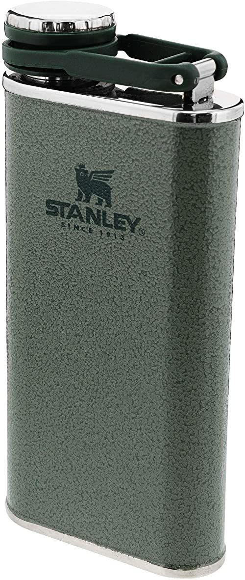 Stanley Classic Wide Mouth Flask 0.23L / 8OZ Hammertone Green with Never-Lose Cap  Piersiówka ze Stali Nierdzewnej z szerokim otworem do łatwego napełniania i nalewania - Szczelna piersiówka BEZ BPA