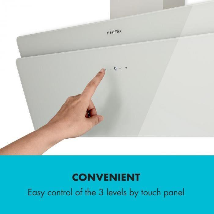 Klarstein Aurica 90 Okap kuchenny 90 cm Wydajność wyciągu powietrza: 610 m/h LED panel dotykowy szkło kolor biały