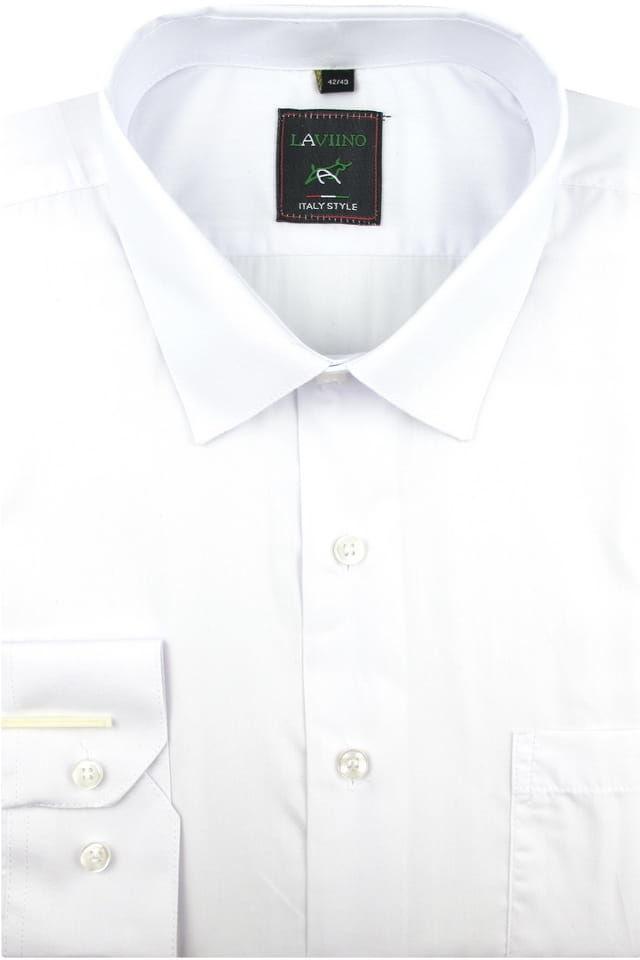 Koszula Męska Elegancka Wizytowa Biznesowa do garnituru Laviino gładka biała z długim rękawem w kroju REGULAR A173