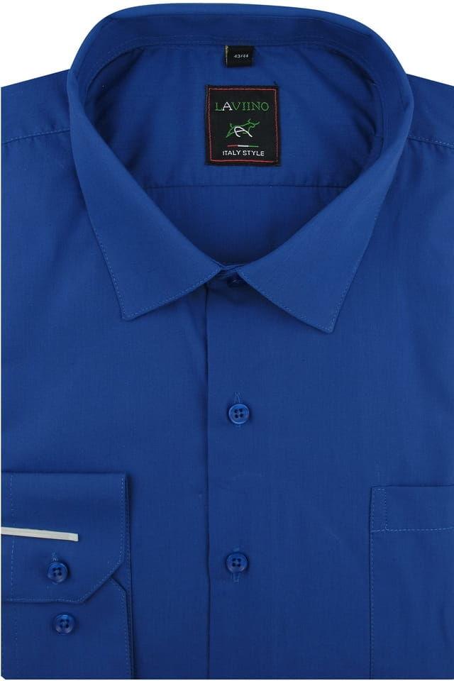 Koszula Męska Elegancka Wizytowa Biznesowa do garnituru Laviino gładka chabrowa z długim rękawem w kroju REGULAR A174