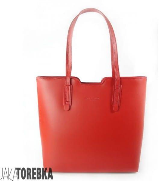 Duża torebka skórzana VERA PELLE Happy Red