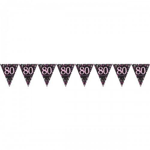 Baner z flag na 80 urodziny różowy Sparkling Celebration
