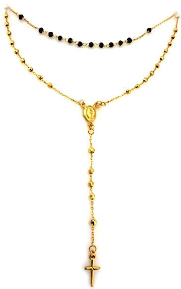 Złoty naszyjnik 585 różaniec krzyż z onyksem