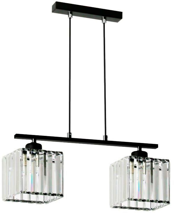 Lampex Andrea 2 911/2 lampa wisząca czarna nowoczesna metal szkło klosz przeźroczysty E27 2x 60W 43cm